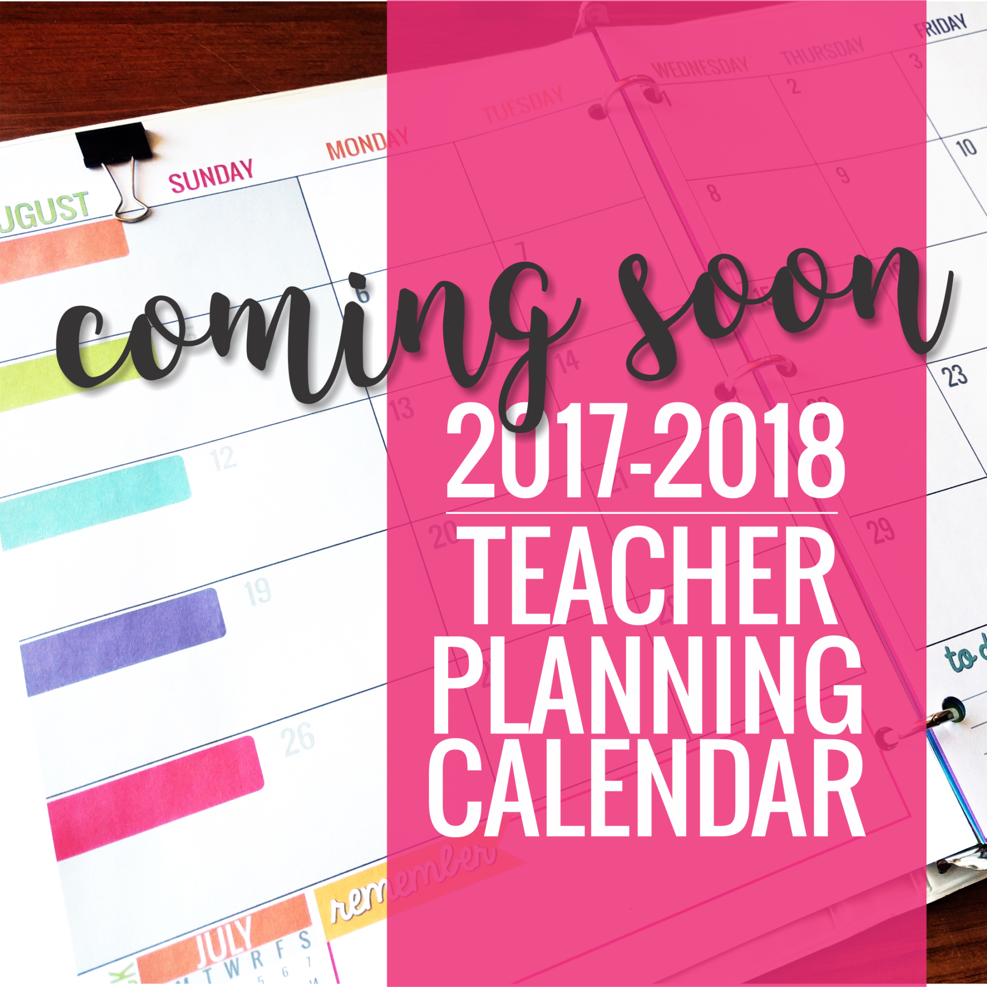 The best teacher planning Printable Calendar 2017-2018