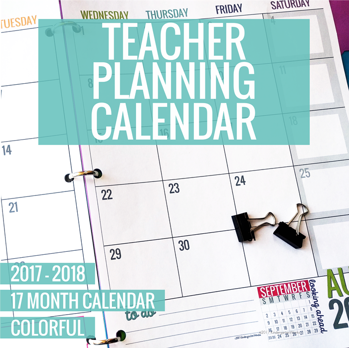 Colorful Teacher Planning Calendar