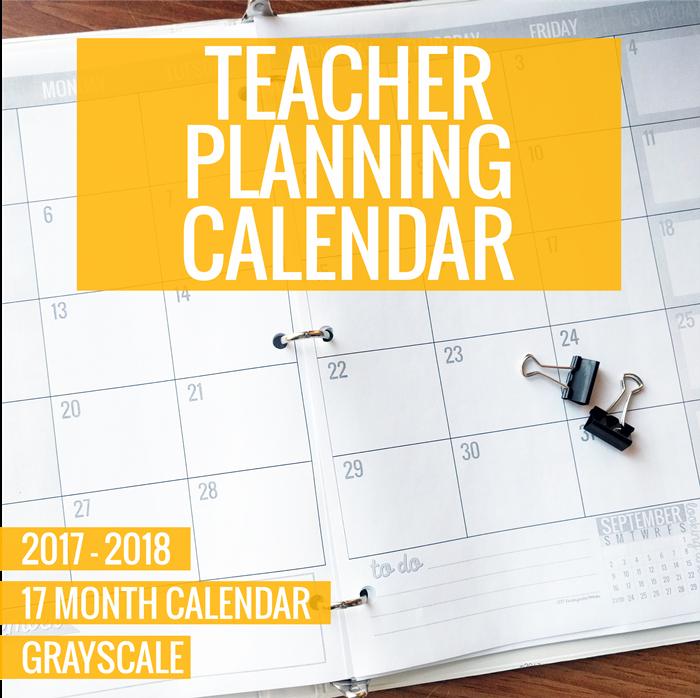 Grayscale Teacher Planning Calendar