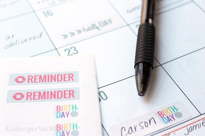 special reminders for teacher planning calendar - digital stickers or print your own