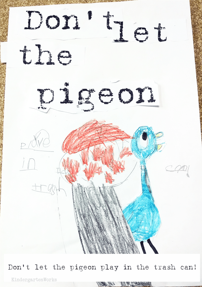 Don't Let the Pigeon... Extension Writing Activity - kindergarten