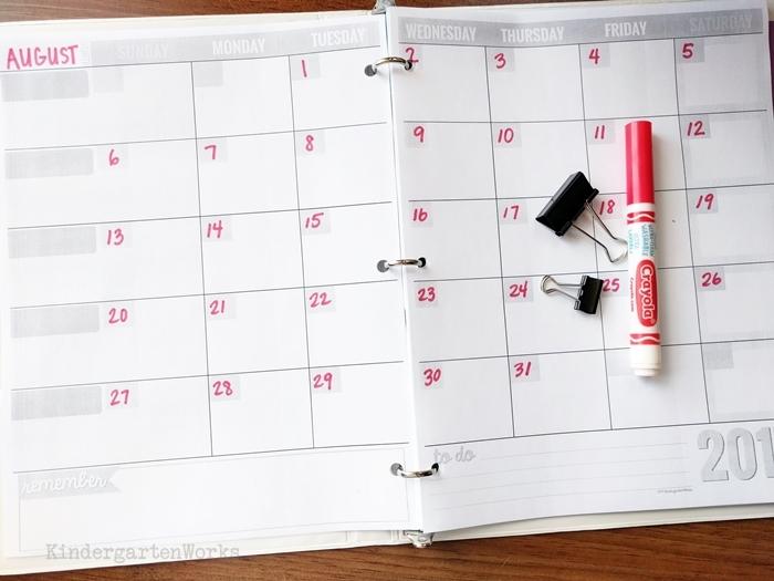 Free Teacher Planning Calendar - add your own dates