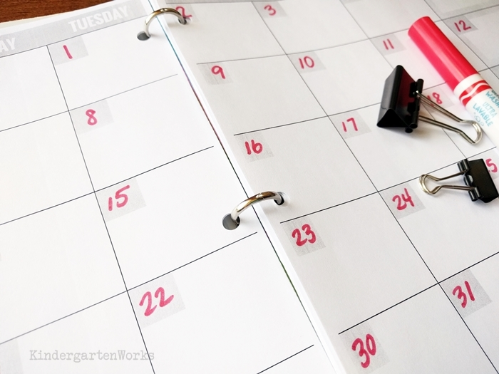 Free Teacher Planning Calendar - lots of room to write, I like this