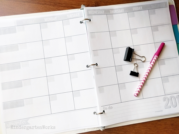 free blank binder calendar template for teaching and wedding planning