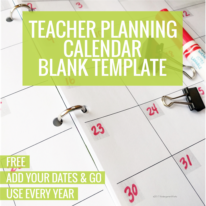 Free Teacher Planning Calendar Blank Template