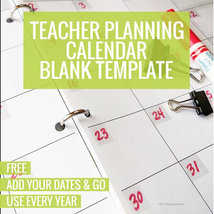 Free Teacher Planning Calendar Blank Template