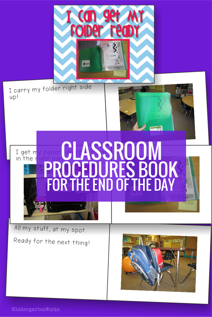 Classroom Procedures Book for Kindergarten - how to get folders ready
