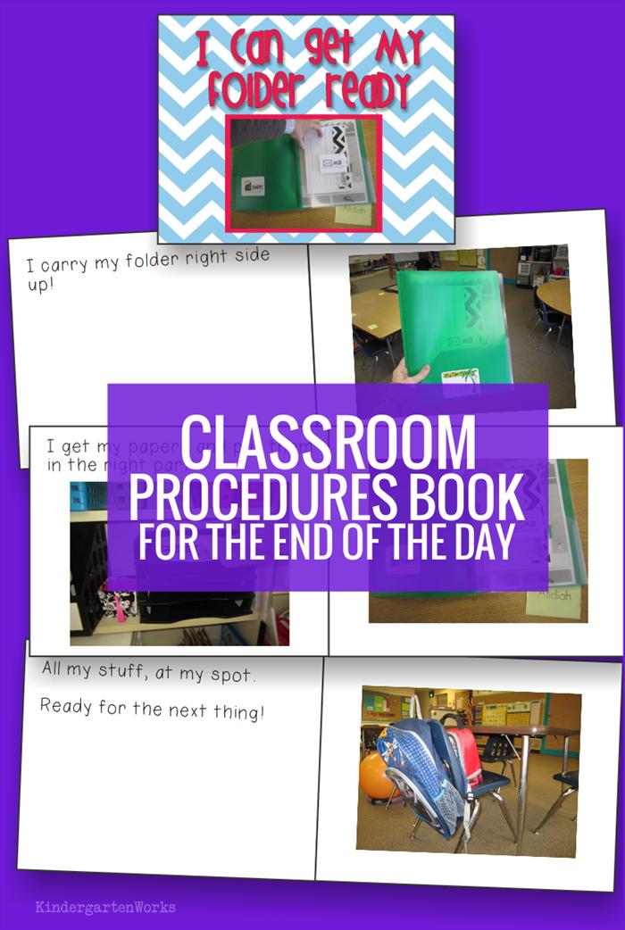 Classroom Procedures Book for Kindergarten - how to get folders ready