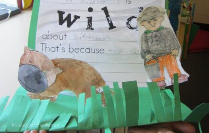 Free and Easy Zoo Animals Writing Project for Kindergarten - hippo template