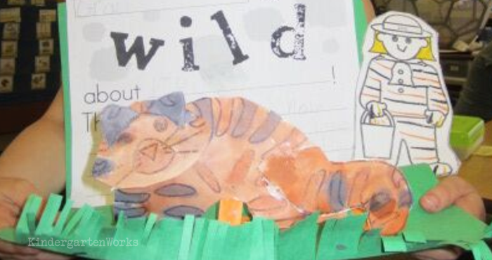 Free and Easy Zoo Animals Writing Project for Kindergarten - tiger template