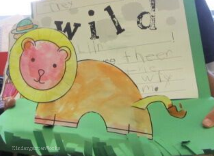 Free and Easy Zoo Animals Writing Project for Kindergarten - Lion template