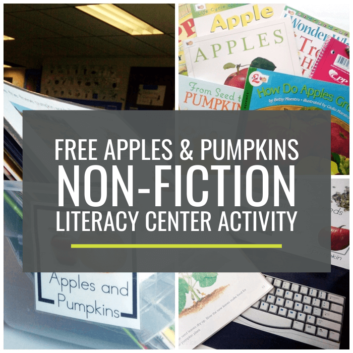 Apples and Pumpkins Non-fiction Literacy Center Activity