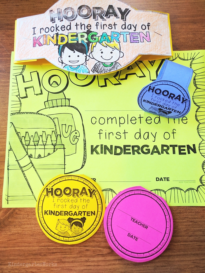 First editable day of school certificates for kindergarten