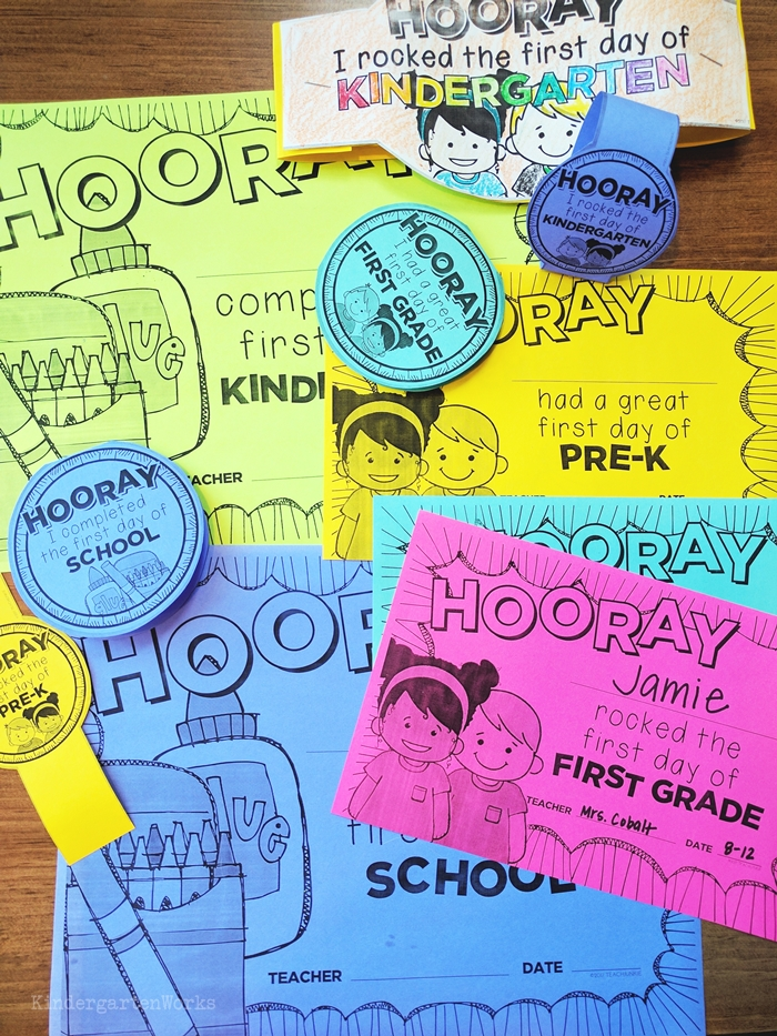 Free first day of school printables for kindergarten pre-k tk first grade