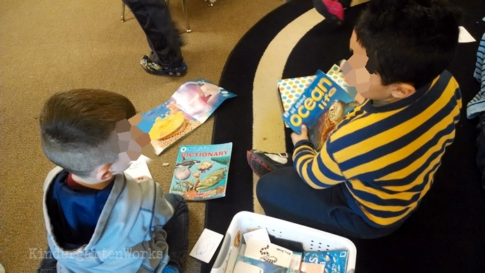 Kindergarten Non Fiction Literacy Center Activity - ocean theme