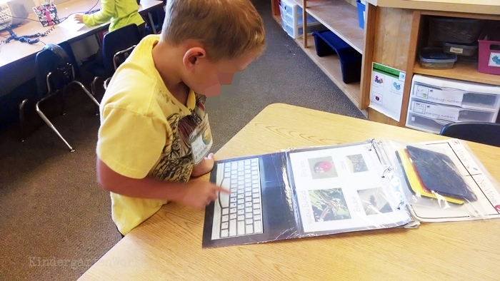 Easy Non-Fiction Literacy Center for Kindergarten - typing vocabulary into pretend laptops activity