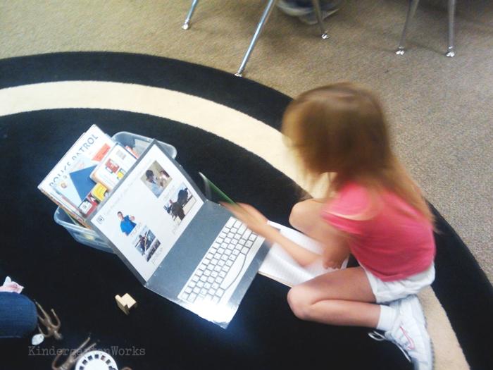 Kindergarten Non Fiction Literacy Center Activity - typing job vocabulary