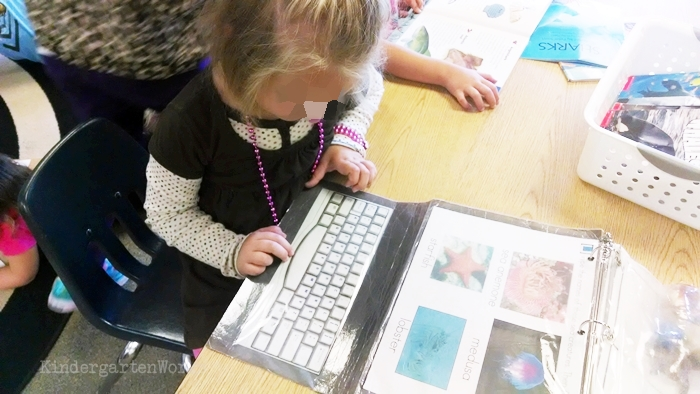 Kindergarten Non Fiction Literacy Center Activity typing ocean life vocabulary activity