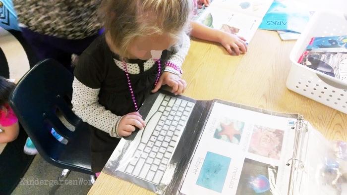 Kindergarten Non Fiction Literacy Center Activity typing ocean life vocabulary activity