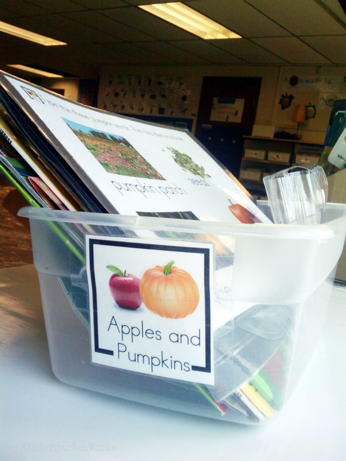 Non-Fiction Literacy Center for Kindergarten - apples and pumpkins fall theme