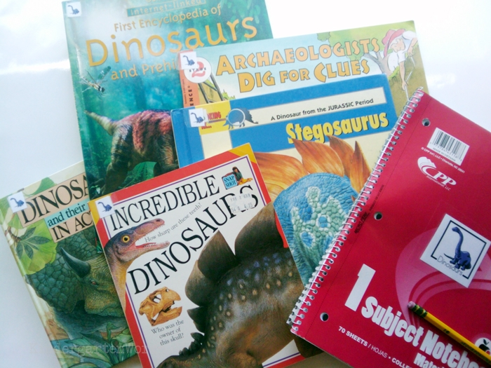 Non-Fiction Literacy Center for Kindergarten - dinosaur books