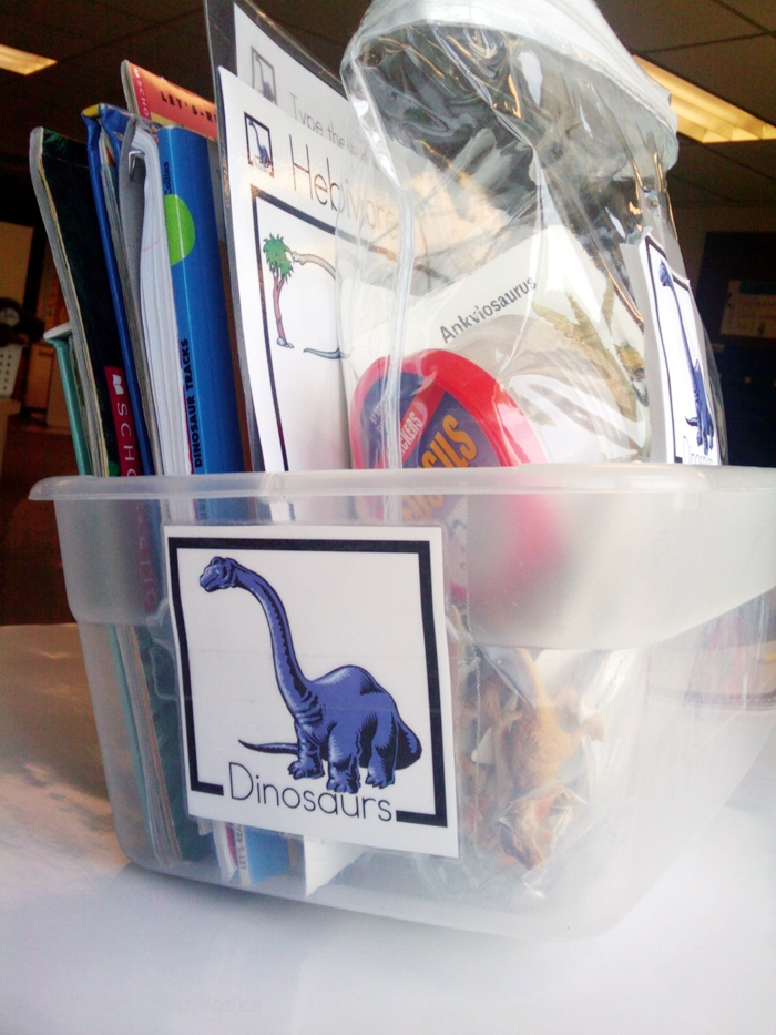 Non-Fiction Literacy Center for Kindergarten - dinosaur theme