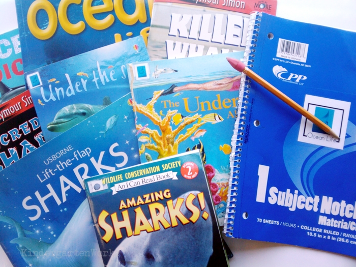 Non-Fiction Literacy Center for Kindergarten - ocean books