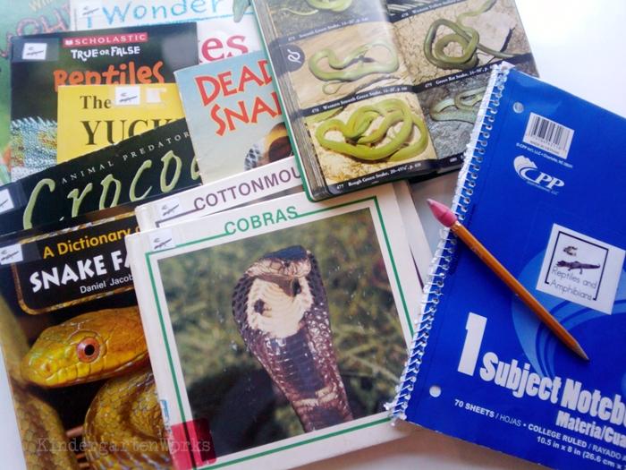 Non-Fiction Literacy Center for Kindergarten - reptiles and amphibians books