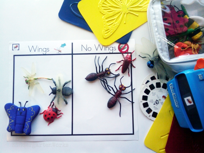 Non-Fiction Literacy Center for Kindergarten - sorting insect objects