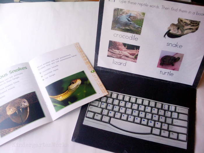 Non-Fiction Literacy Center for Kindergarten - typing reptile and amphibians vocabulary