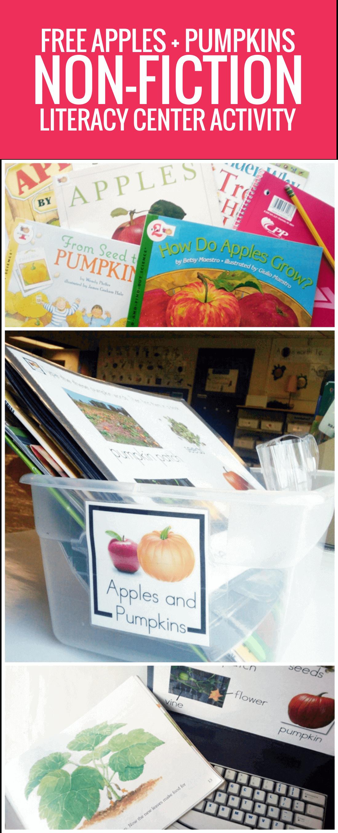 Apples and Pumpkins Non-fiction Literacy Center Activity Set