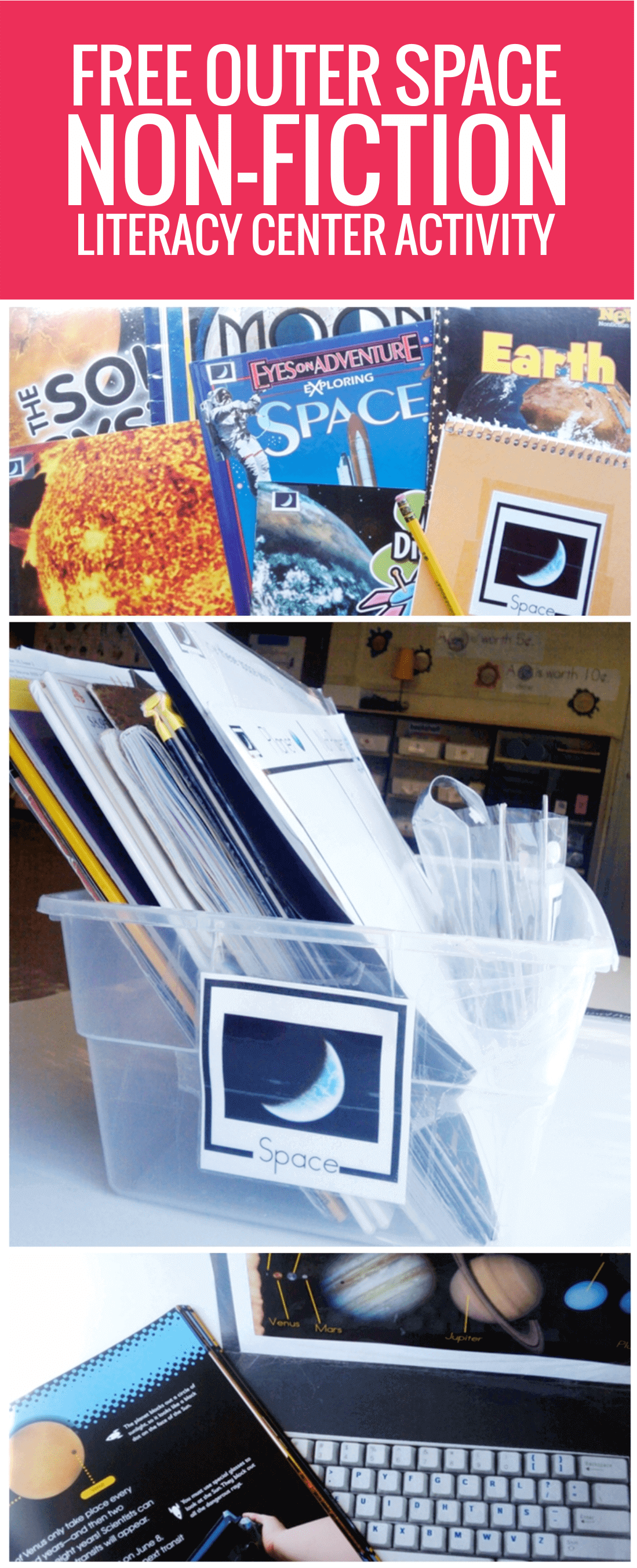 free Outer Space Non-fiction Literacy Center Activity for kindergarten