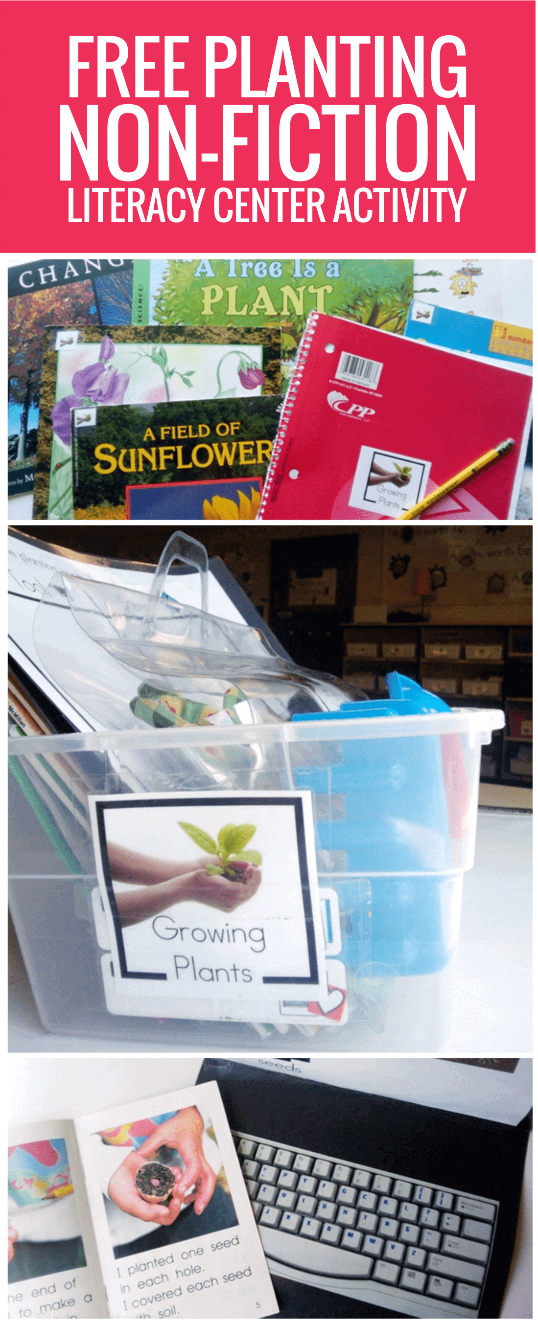 free Planting Non-fiction Literacy Center Activity for kindergarten