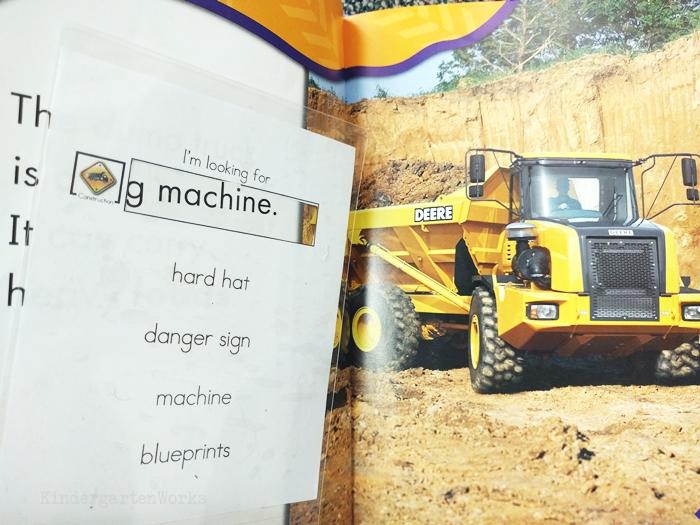 kindergarten literacy center activity - vehicles - non fiction theme