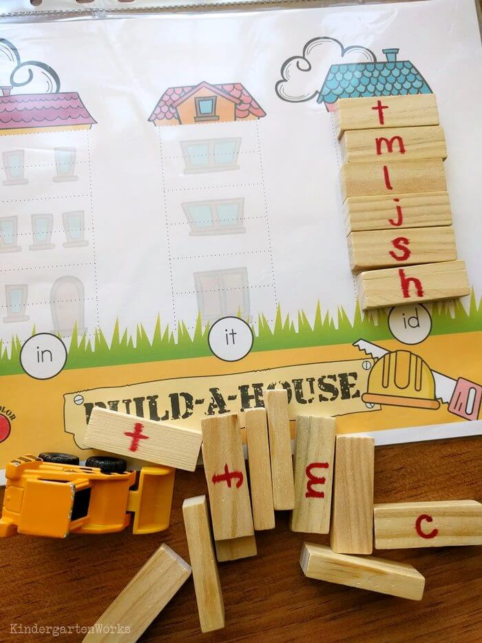 Build-a-House Onset and Rime Activity (CVC Word Building) for Kindergarten