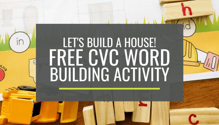 Free CVC Word Building Activity for Kindergarten with Mini-Jenga Blocks
