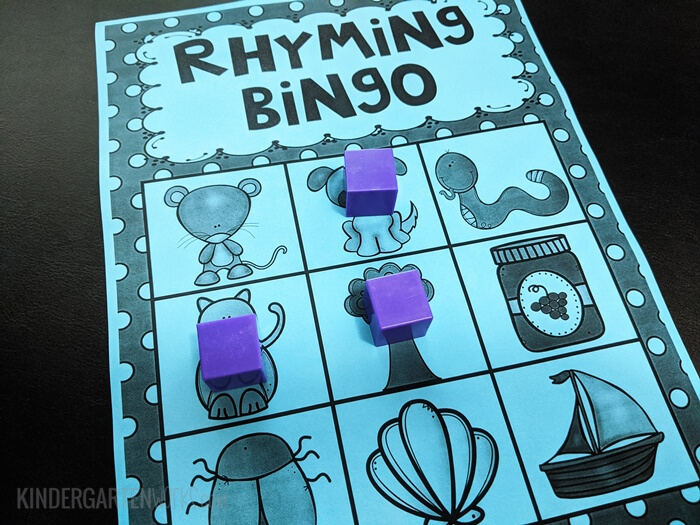 Free Rhyming Bingo for Kindergarten