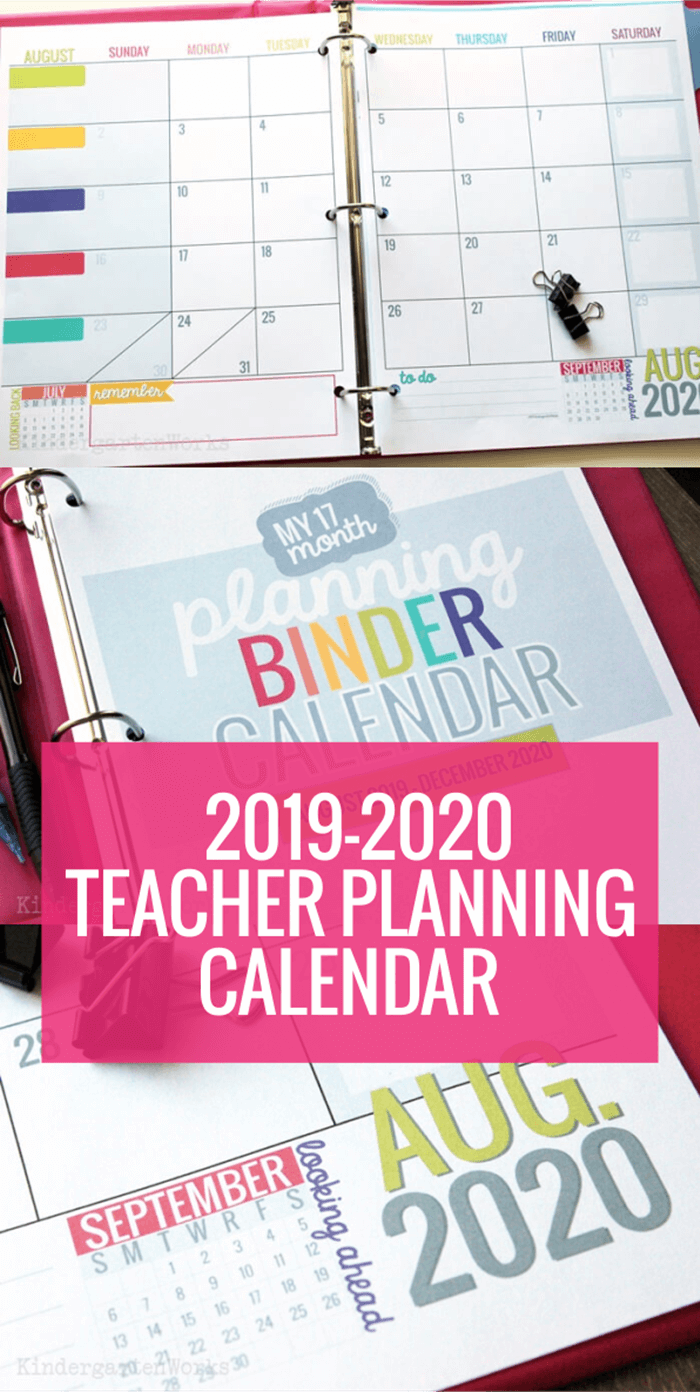 2019-2020 Teacher Planning Calendar Template