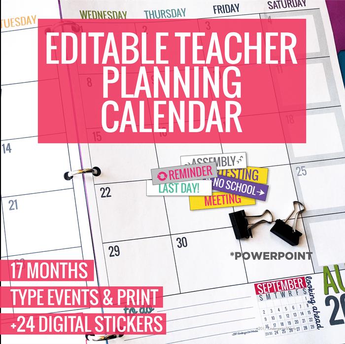 Editable 2018-2019 Teacher Planning Calendar