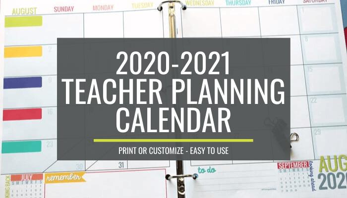 Printable Teacher Calendar 2021 2020 2021 Teacher Planning Calendar Template – KindergartenWorks