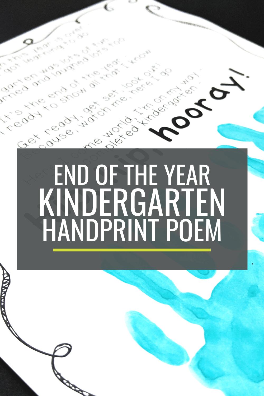 Free End of the Year Kindergarten Handprint Poem
