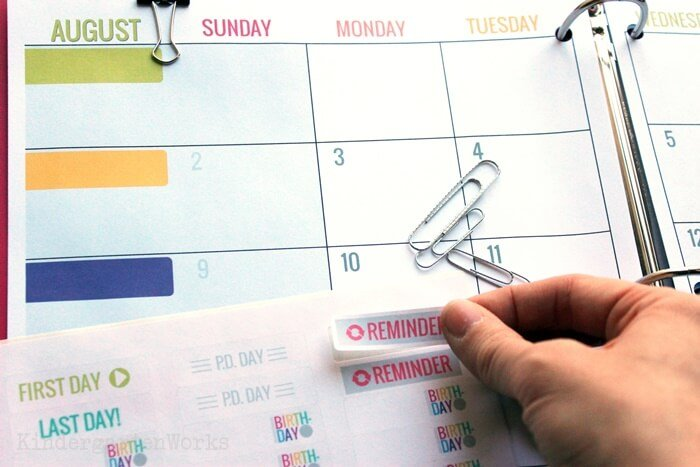 Over 42 digital stickers included with your teacher planning calendar