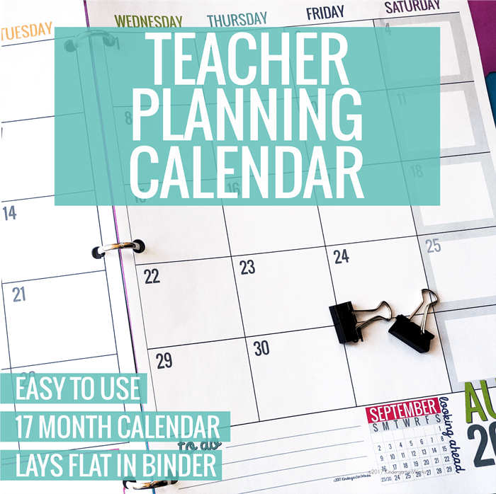 photo regarding Free Printable Teacher Planner called Printable 2019-2020 Calendar Template KindergartenWorks