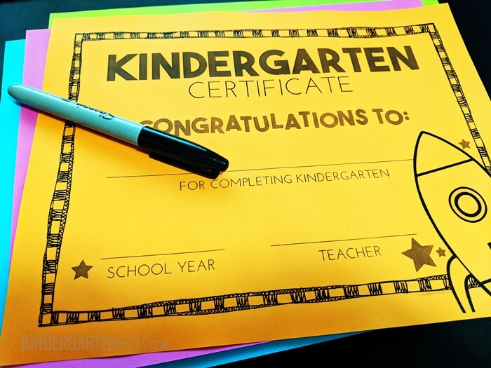 Congratulations Award for Kindergarten Free