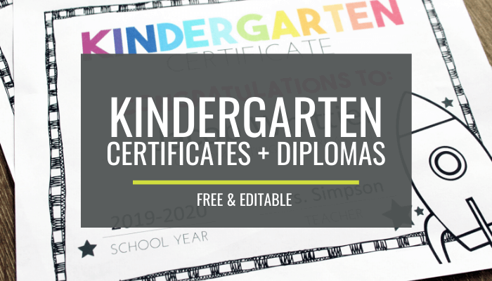 End of Year Certificates for Kindergarten
