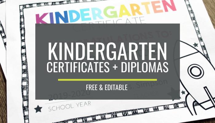 End of Year Certificates for Kindergarten