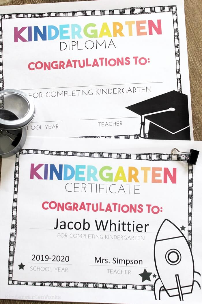 Free Certificate of Completion and Kindergarten Diploma