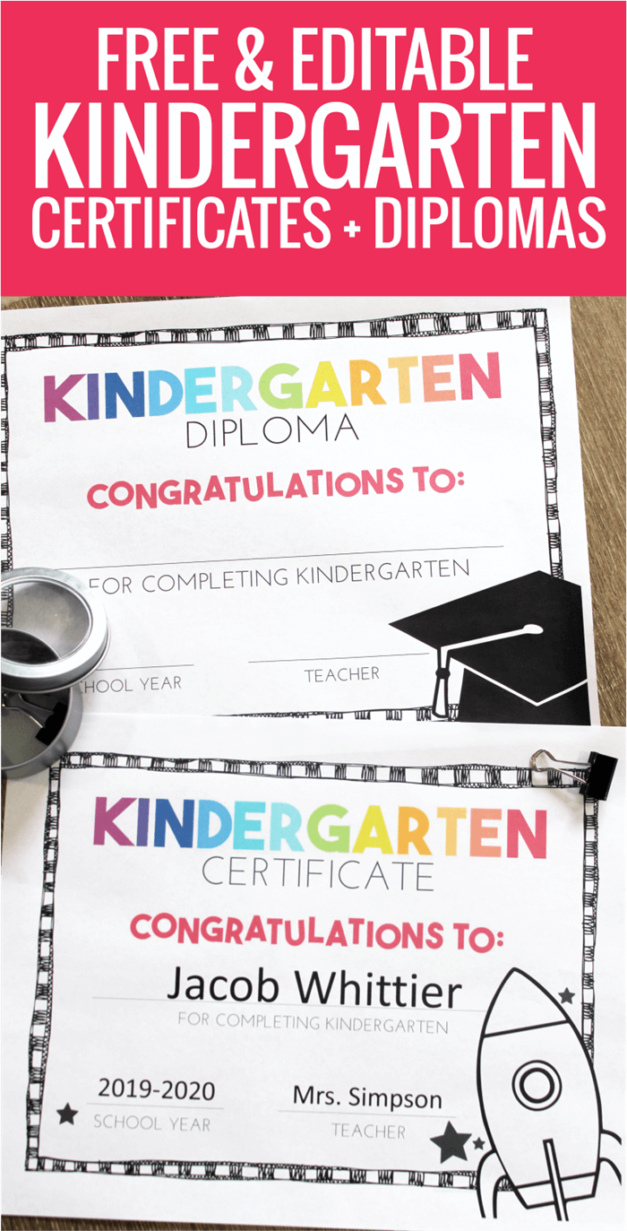 Free Editable End of Year Certificates for Kindergarten