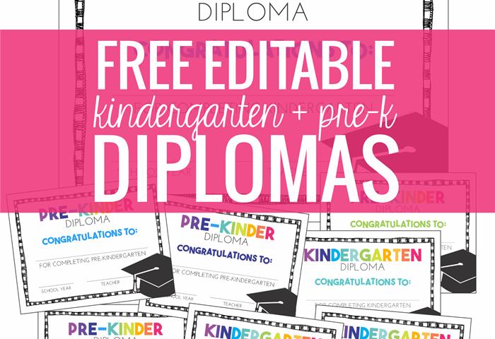 Free Kindergarten Diplomas (Editable)
