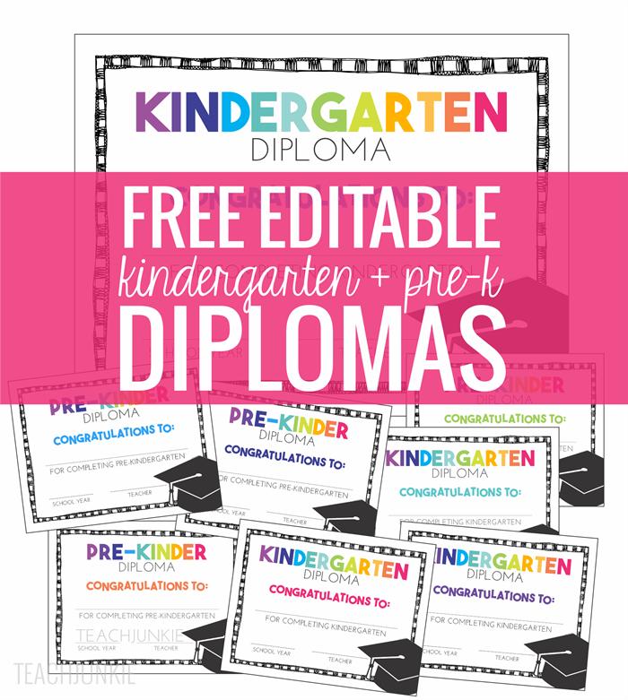 free kindergarten diplomas editable kindergartenworks